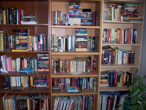 Three of #2's bookcases, creatively organized