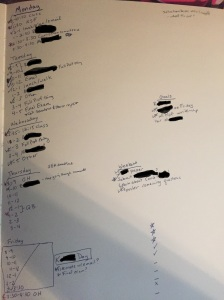 Heavily redacted planner page